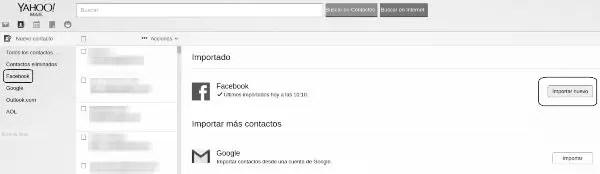 Importar contactos Facebook Yahoo