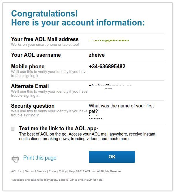información cuenta AOL