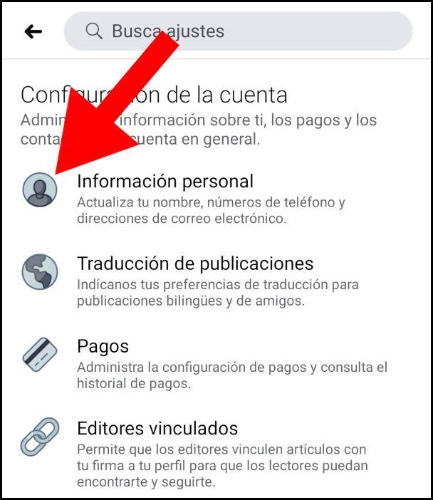 Información personal Facebook móvil