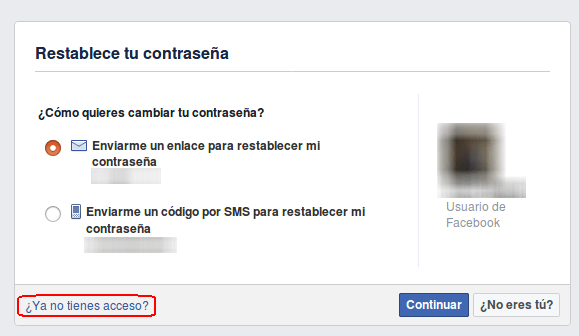 no tengo acceso a facebook