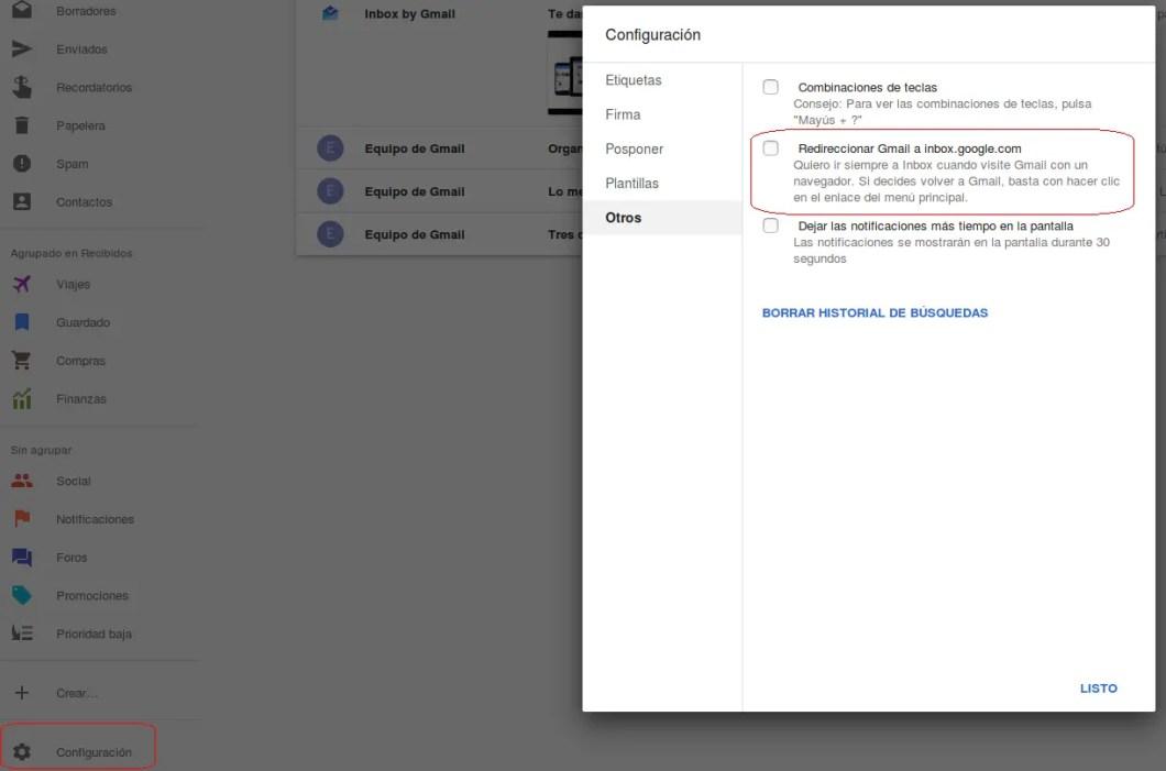 quitar redirección de gmail a inbox