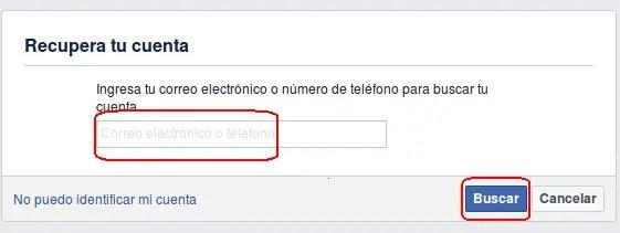 recuperar tu cuenta de Facebook