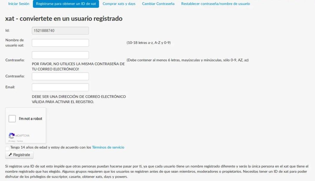 registrar usuario de xat