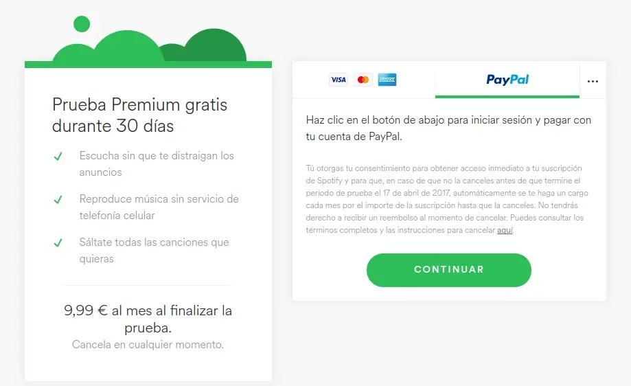 Spotify Premium 30 días gratis con PayPal