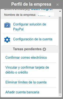 tareas pendientes de PayPal