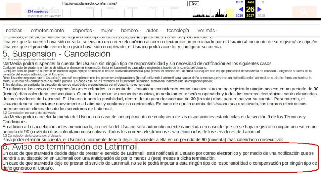 aviso de terminación de LatinMail