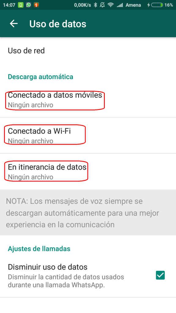 uso de datos en WhatsApp
