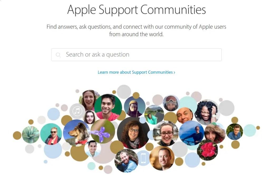 foros de soporte de Apple