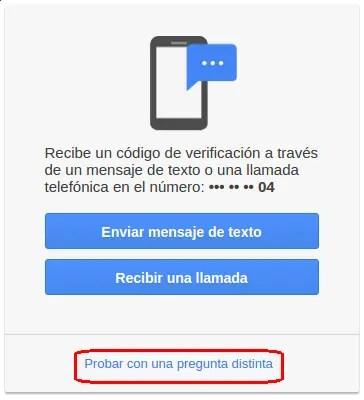 recibir llamada o mensaje de texto para recuperar cuenta Gmail