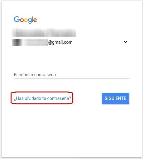 recuperar contraseña de Google Gmail