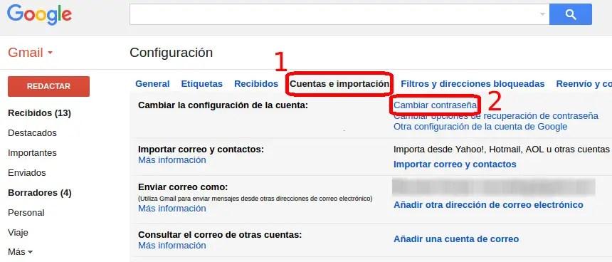 cambiar contraseña en los ajustes de Gmail