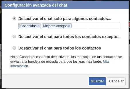 configuración avanzada del chat de Facebook