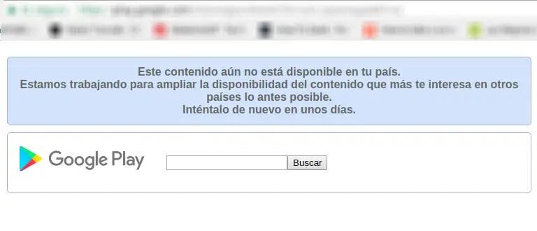 contenido de Google Play no disponible en tu país