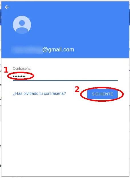 contraseña de Gmail en Chrome