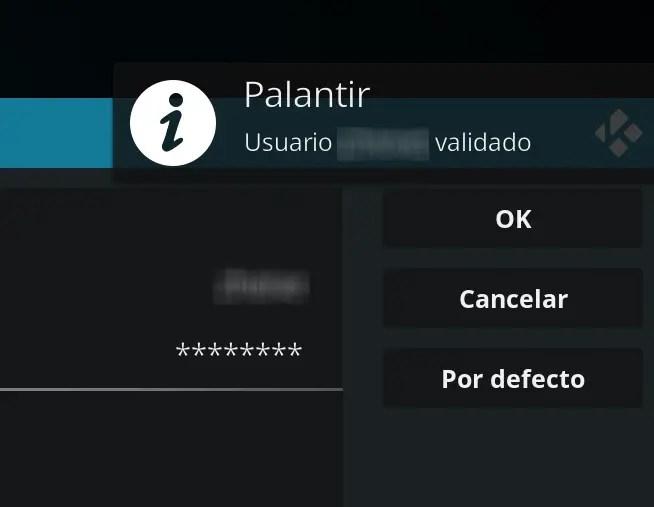 usuario de Palantir validado