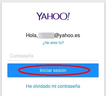 contraseña en Yahoo Mail