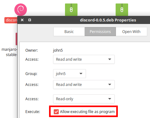 permisos de ejecutable de Discord