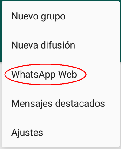 Whatsapp Web menú
