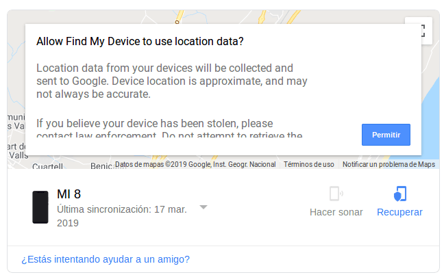 localizar móvil en Google