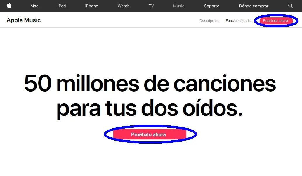 pruébalo ahora, Apple Music