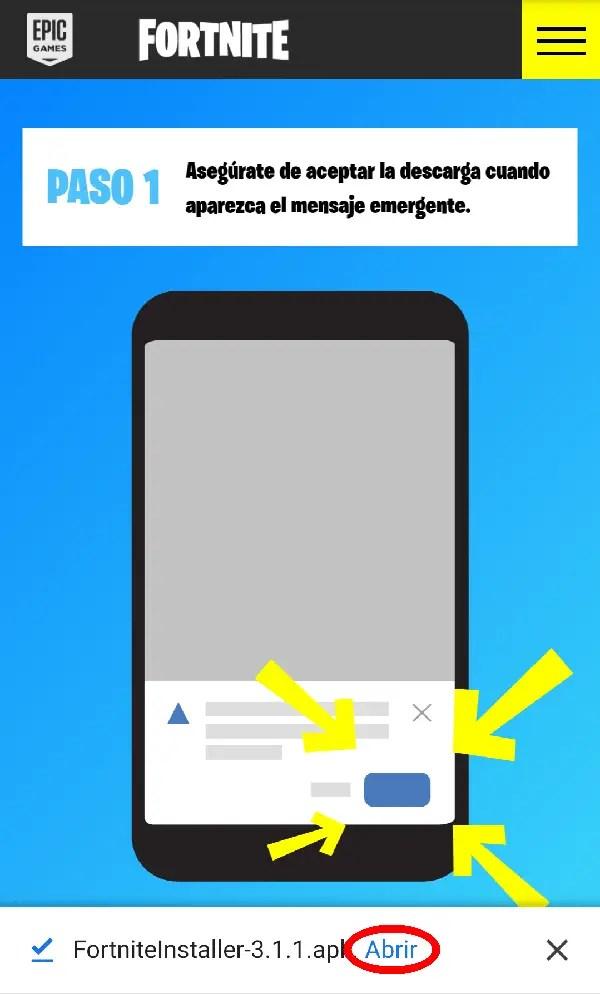 abrir instalador de fortnite para Android