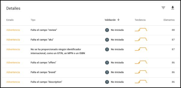 Advertencias Search Console