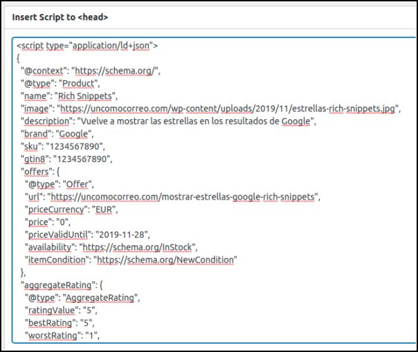 Insertar script en post