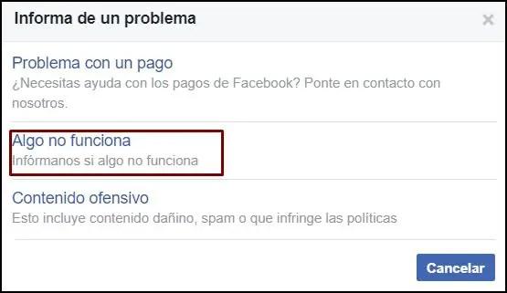 Algo no funciona en Facebook
