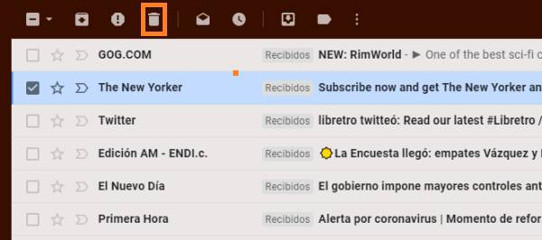 eliminar un correo de Gmail