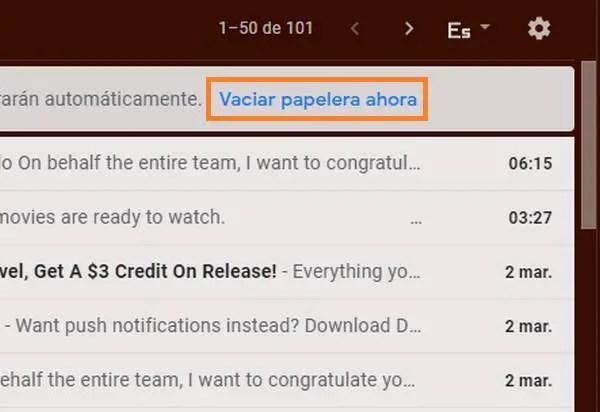 vaciar la papelera de correo Gmail