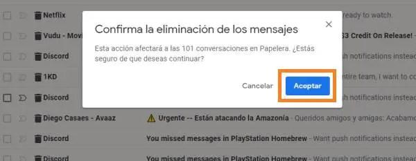 confirmar eliminación de mensajes Gmail