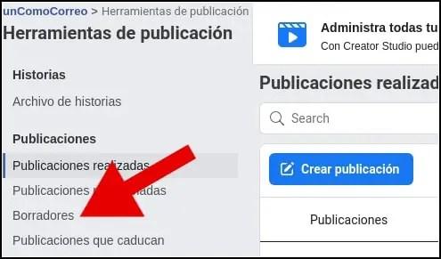 borradores en herramientas de publicación