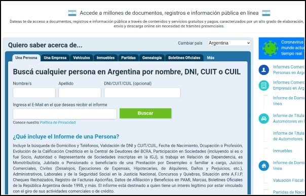 buscar DNI Argentina en Dateas
