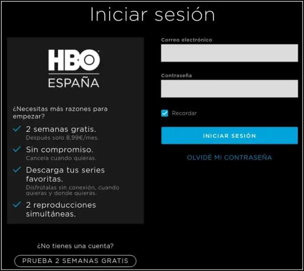 iniciar sesión HBO España