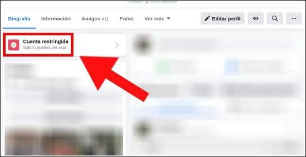 aviso cuenta restringida Facebook