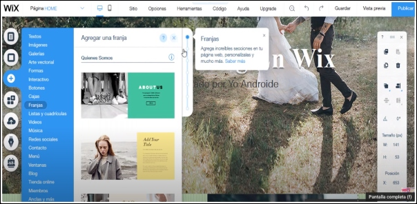 crear página web Wix