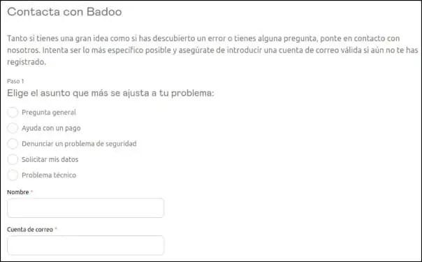 contactar soporte Badoo
