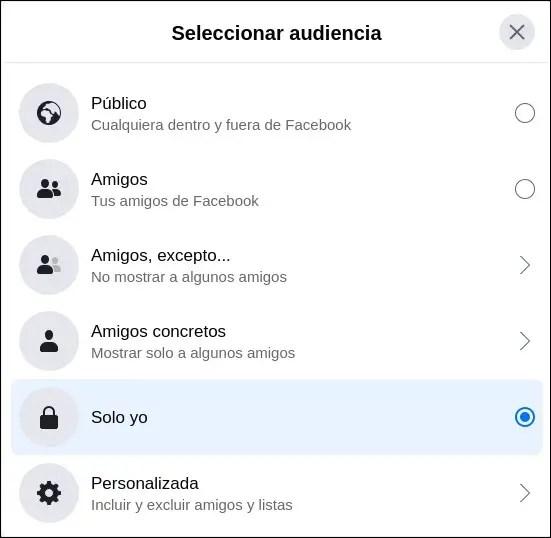 editar audiencia Facebook