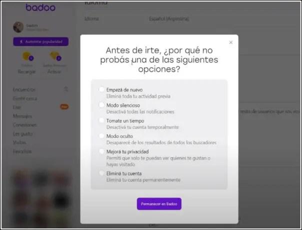eliminar cuenta de Badoo para PC