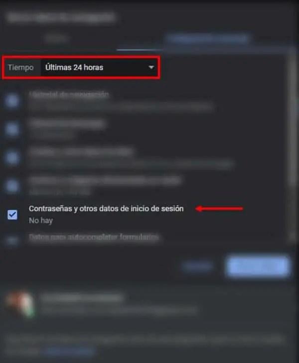 Borrar correos de Facebook en Chrome al iniciar sesión_2