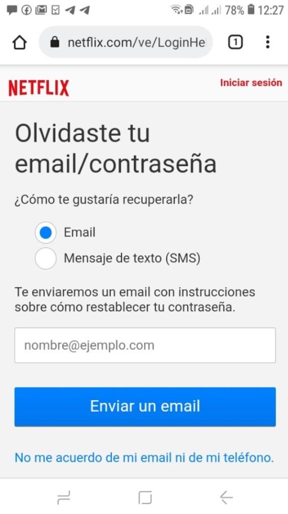 Restablecer contraseña de Netflix en Android_2