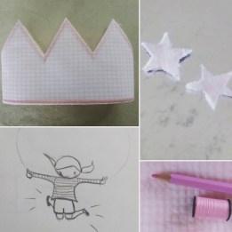 corona rosa vihy amb nina amb corda