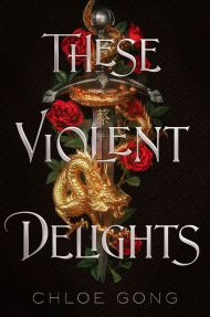 These Violent Delights cover - (un)Conventional Bookworms - Weekend Wrap-up - Black background with a chalice and two red roses in the center, the book title is one word on each line over the image in white.