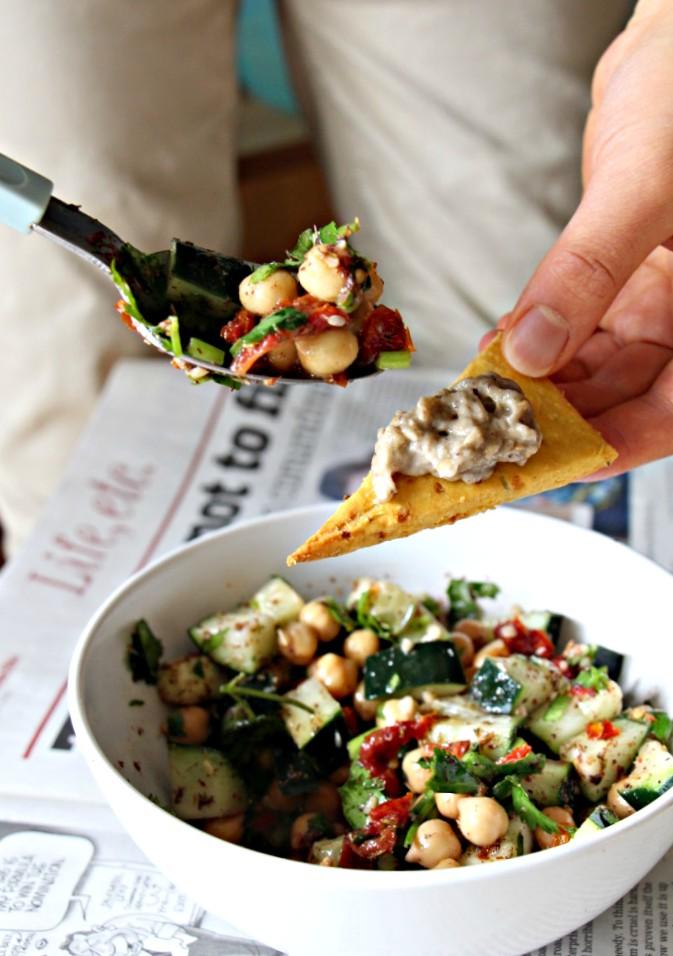Mediterranean Chickpea Salad + Gluten Free Pita Chips (Vegan, Grain-Free)