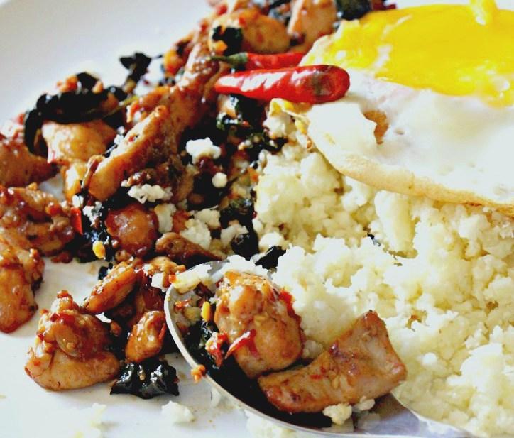 30 minute Thai Basil Chicken & Coconut Cauliflower Rice (GF, Paleo, Oil-Free)