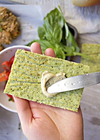 Creamy Hummus Broccoli Flatbread (Grain Free, DF)