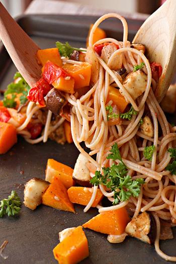 Japanese Roasted Ratatouille Spaghetti (GF, Vegan, Vegetarian, Dairy Free, Oil Free)