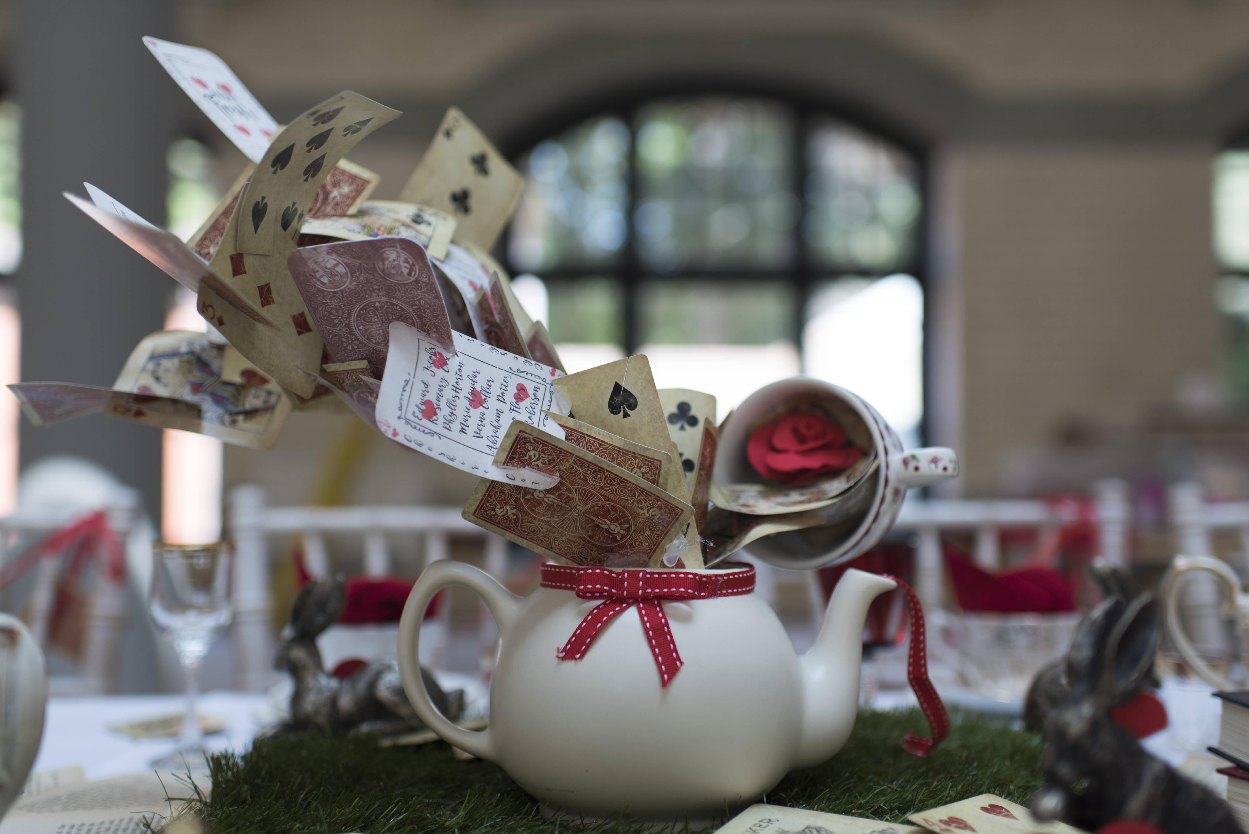wedding planner - alternative and unconventional wedding - alice in wonderland table centrepiece