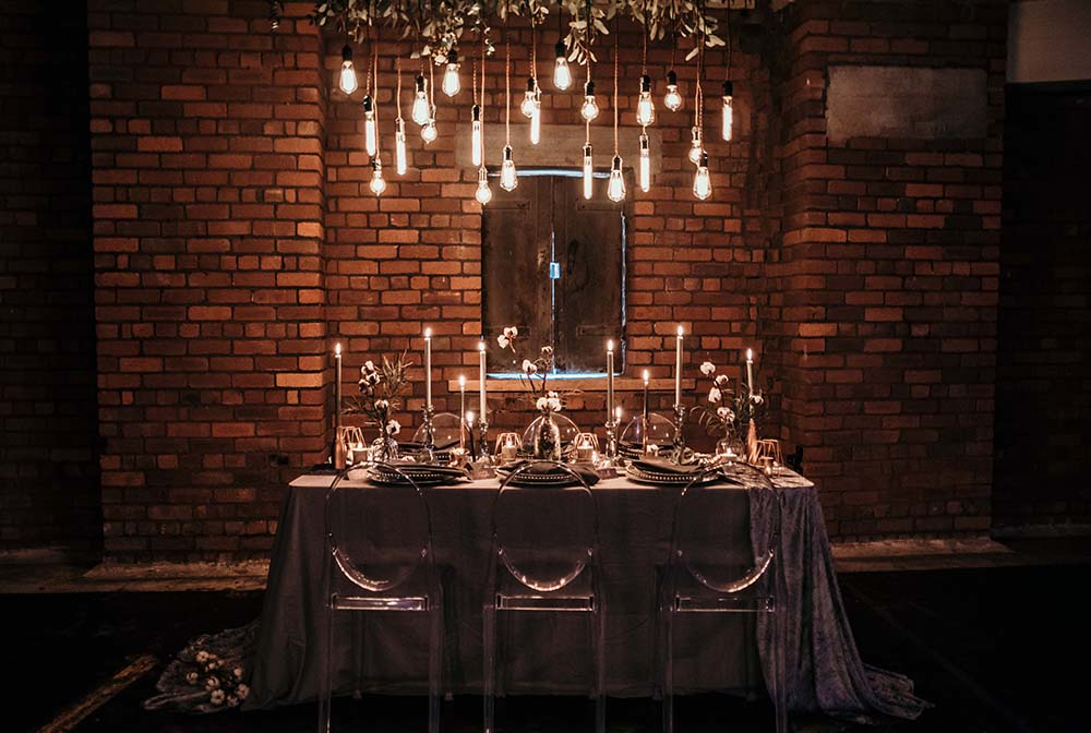 The Urban wedding company 8 - tablescape - light bulbs - industrial - alternative - unconventional wedding