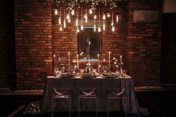 The Urban wedding company 8 - tablescape - light bulbs - industrial - alternative - unconventional wedding